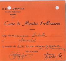 STAVELOT - LE RÉVEIL ARDENNAIS - Carte De Membre D'Honneur. - Unclassified