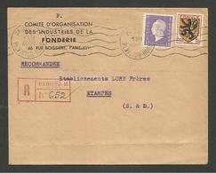 Recommandé Provisoire De PARIS 51 >>> ETAMPES / Affr. Blason & Marianne De Dulac 29.08.1945 - 1921-1960: Modern Period