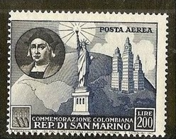 1952 San Marino Saint Marin COLOMBO 200 Lire Aereo MNH** Air Mail - Christopher Columbus