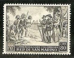 1952 San Marino Saint Marin CRISTOFORO COLOMBO 80 Lire MNH** - Christopher Columbus