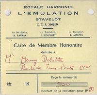 STAVELOT - ROYALE HARMONIE L'ÉMULATION (Carte De Membre Honoraire) - Unclassified