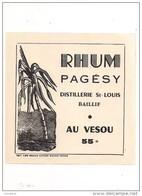Etiquette Rhum PAGESY Au Vesou 55° - Distillerie St Louis à Baillif - GUADELOUPE - - Rhum
