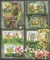 V397 2012 CENTRAFRICAINE PLANTS FLOWERS MUSHROOMS ORCHIDS 2KB+2BL MNH - Orchidées