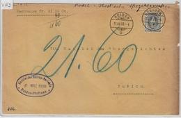 1908 Stehende Helvetia 97A/91D Reiden 11.III.08 To Zürich - 1882-1906 Wappen, Stehende Helvetia & UPU