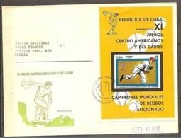 1970 Cuba MONDIALI BASEBALL WORLDCUP Busta Affr. Foglietto 'PANAMA 1970' Annullo Speciale - Baseball