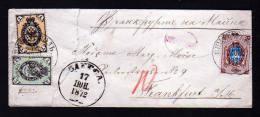 1, 3 Und 10 K. Auf Kleinem Brief Ab Odessa Nach Frankfurt 1872 - Öffnungsfehler - 1857-1916 Empire