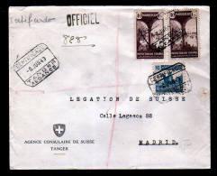 Einschreibbrief 1943 Vom Schweizer Konsulat Ab Tanger Nach Madrid - Maroc Espagnol