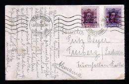Überdrucke Auf Karte 1926 Ab Tetuan Nach Freiberg - Maroc Espagnol