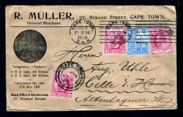 2 1/2 P. Mit Firmenlochung Und Zufrankatur Auf Brief 1906 Ab Cape Town Nach Celle - Afrique Du Sud (...-1961)
