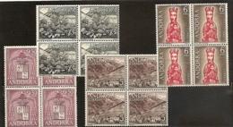 1964 Andorra Spagnola Spanish Andorre SOGGETTI DIVERSI 4 Serie Di 4v. MNH**: Quartina Emessa 29/2/64 - Andorra Spagnola