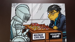 JEU - ECHECS - CHESS  - Humour - Satire - Anand Vc Carlsen - Modern Ukrainian Postcard - Echecs