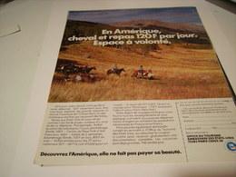 ANCIENNE PUBLICITE  AMERIQUE CHEVAL +REPAS 120 EUROS 1979 - Pubblicitari