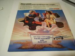 ANCIENNE PUBLICITE LIGNE AERIENNE AIR INTER 1979 POLITIQUE COUPLE - Advertisements