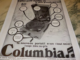 ANCIENNE PUBLICITE COLUMBIA GRAMOPHONE  1930 - Music & Instruments