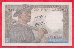 """10 Francs """"Mineur"""" Du 19/11/1942B   Série Q.18 Dans L 'état - 1871-1952 Anciens Francs Circulés Au XXème"""