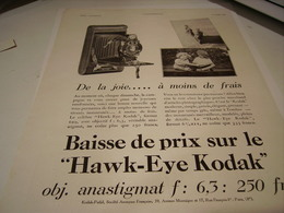 ANCIENNE PUBLICITE KODAK  HAWL-EYE 1930 - Photography