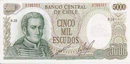 Chile  P-147  5000 Escudos  1973-5  UNC - Chile