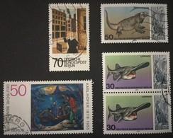 1977-1978 Berliner Zoo Mi.553 Paar,Mi.555,Europäische Kunstausstellung Mi.551,Karl Hofer-gemälde Mi.572 - Berlin (West)