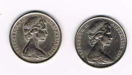 -&   AUSTRALIE   2 X 10  CENTS  1966/1979 - 20 Cents