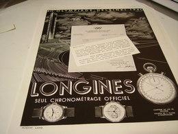 PUBLICITE AFFICHE MONTRE LONGINES  OLYMPIQUE HELSINKI 1940 - Bijoux & Horlogerie