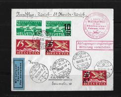 1935 Rundflug Zürich-St.Moritz-Zürich → 1.Winterluftpost In Den Bündner Alpen ►SBK-F16/F20/F3/2xF19◄ - Erst- U. Sonderflugbriefe