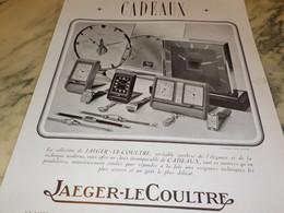 ANCIENNE PUBLICITE COLLECTION JAEGER-LECOULTRE CADEAUX  1938 - Bijoux & Horlogerie