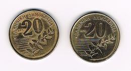 -&  GRIEKENLAND  2 X 20 DRACHMES  1994/2000 - Grèce