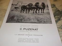 ANCIENNE PUBLICITE MANUFACTURE CENTRALE DE MACHINE AGRICOLE PUZENAT   1941 - Tracteurs