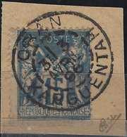 Sage N°101 15c Sur Fragment Oblitéré Càd D'Oran Bureau De Karguentah En Algérie Signé Calves - 1898-1900 Sage (Type III)