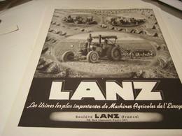 ANCIENNE AFFICHE PUBLICITE TRACTEUR LANZ 1941 - Cars
