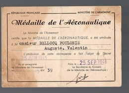 (aviation) Carte Certifiant L'attribution De LA MEDAILLE DE L'AERONAUTISME 1946 (PPP14395) - Vecchi Documenti