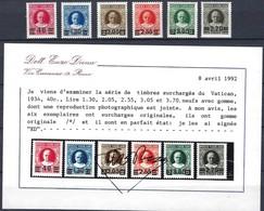 1934 PAPE PIE XI, Timbres Surchargés Du Vatican Michel: 39-44, Signées Enzo Diena (2scans) - Vatican