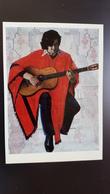 OLD Soviet POSTCARD  -  Victor Jara, Komiteen Salvador Allende, Chilean Singer - Rare! 1984 Guitar - Chile