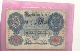 REICHSBANKNOTE . ZWANZIG ( 20 ) MARK . 19 - 2 - 1914 . 2 SCANES - [ 2] 1871-1918 : German Empire