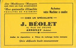 BUVARD Machine à Coudre J BEOLET 19 RUE DE DEUME ANNONAY Ardèche - Blotters