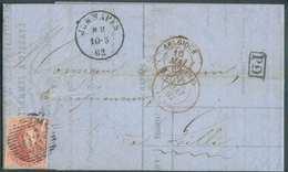 N°12 - Médaillon 40 Centimes Vermillon, Un Peu Touché En Bas, Obl. P.65 S/Lettre De JEMMAPES Le 10-5-1862 Vers Lille. TB - 1858-1862 Medallions (9/12)