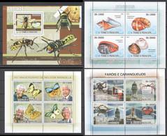 V702 2009 S.TOME E PRINCIPE FAUNA INSECTS SEASHELLS MANDELA 1BL+3KB MNH - Farfalle