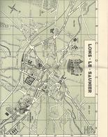 """CARTE DE LONS-LE-SAUNIER + CARTE REGIONALE DU SYNDICAT D'INITIATIVE DE """" AOUT 1957 """"  2 SCANES - Cartes Géographiques"""