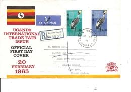 Ouganda ( FDC De 1965 Voyagé En Recommandé De Kampala Vers L'Afrique Du Sud à Voir) - Uganda (1962-...)