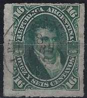 ARGENTINE 1879 N°34 16 Centavos Oblitéré Càd Français Hexagonale Buenos Ayres/ Ligne De Paquebot, RR Signé Calves - Argentine