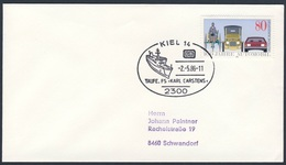 """Deutschland Germany 1986 Cover / Brief - Taufe Fährschiff """"Karl Carstens"""", Kiel / Ferry / Veerboot - Schiffe"""