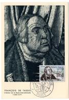CHEVAL  = 75 PARIS 1956 = CARTE MAXIMUM + CACHET PREMIER JOUR Illustré / N° Yvt  1054 'Journée Du TIMBRE / TASSIS' - Maximum Cards