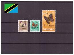 Tanzanie 1973 - MNH ** - Papillons - Timbres De Service Michel Nr. 18 22 24 (tan250) - Tanzania (1964-...)