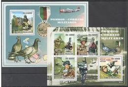 V719 2009 S.TOME E PRINCIPE FAUNA BIRDS & WAR POMBOS-CORREIO MILITARES 1KB+1BL MNH - Birds