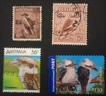 Australia : The Laughing Kookaburra 1932 SG 146,1937 SG 172,1986 SG1024,2005 SG 2524 - Songbirds & Tree Dwellers