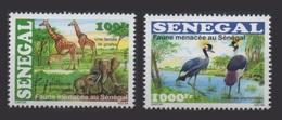 SENEGAL 2005 ENDANGERED FAUNA ANIMALS FAUNE MENACEE GIRAFES ELEPHANTS OISEAUX BIRDS RARE MNH ** - Elephants