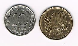 -&  ARGENTINA  2 X 10  PESOS  1966/1978 - Argentine