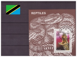 Tanzanie 1993 - Oblitéré - Serpents - Michel Nr. Bloc 220 (tan088) - Tanzania (1964-...)