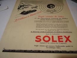 ANCIENNE PUBLICITE RALLYE MONTE CARLO AVEC  SOLEX  1939 - Transportation