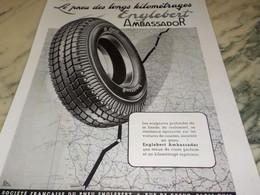 ANCIENNE PUBLICITE PNEU ENGLEBERT  AMBASSADOR 1939 - Transportation